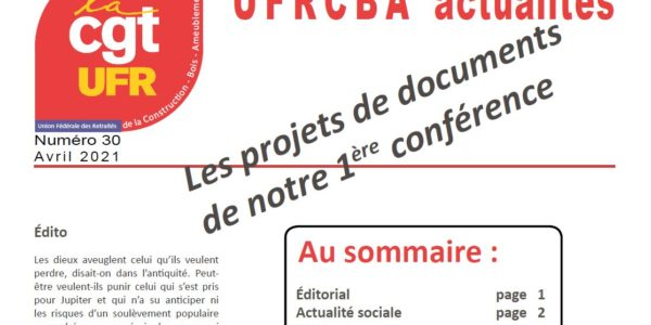 UFR Actualités n°30 – Avril 2021